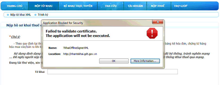 Failed to validate certificate